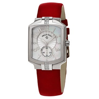 Philip Stein Women's 21SD-FMOP-CIDR 'Classic Square' Mother of Pearl Red Leather Strap Diamond Quartz Watch