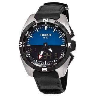 Tissot Men's T091.420.46.041.00 'T Touch Expert' Black/Blue Dial Black Leather Strap Multifunction Swiss Quartz Watch