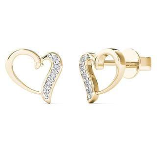 AALILLY 10k Yellow Gold Diamond Accent Open Stunning Heart Stud Earrings