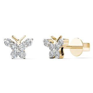 10k Yellow Gold 1/6ct TDW Diamond Butterfly Stud Earrings (H-I,I1-I2)