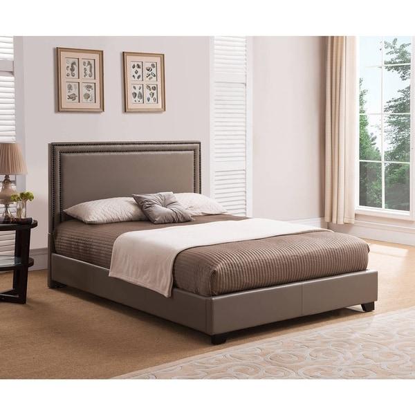 Shop Rize Baffin King Size Taupe Leather Platform Bed