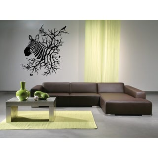Zebra Tree and birds Wall Art Sticker Decal