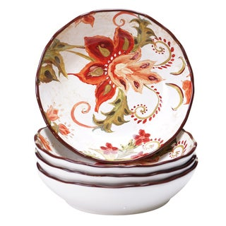 Certified International Spice Flowers 8-inch Soup/Pasta Bowls (Set of 4)