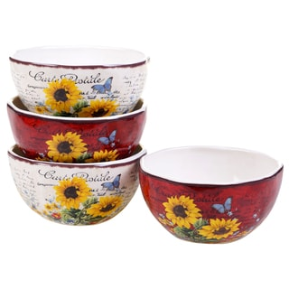Certified International Sunflower Meadow 5.75-inch Ice Cream Bowls (Set of 4) 2 Assorted Designs