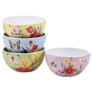 Certified International Floral Bouquet 5.5-inch Ice Cream Bowls (Set of 4)