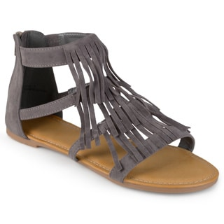 Journee Collection Women's 'Zana' Fringed Flat Gladiator Sandals