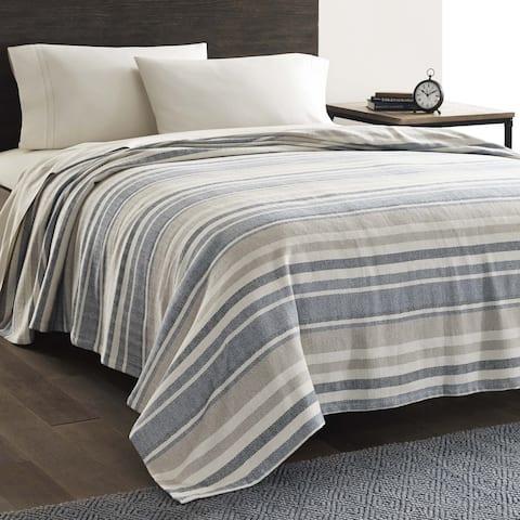 Eddie Bauer Herringbone Blue Stripe Blanket