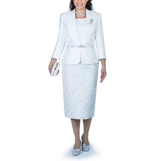 Ella Belle Women's 3-Piece Contrast Two-tone Fabric Skirt Suit with Brooch
