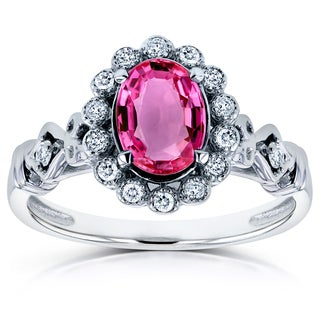 Annello by Kobelli 14k White Gold Oval Pink Sapphire and 1/8ct TDW Diamond Vintage Ring (H-I, I1-I2)