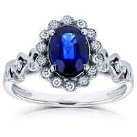 Annello by Kobelli 14k White Gold Oval Blue Sapphire and 1/8ct TDW Diamond Vintage Ornate Cathedral Ring (H-I, I1-I2)