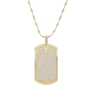 NEXTE Jewelry Brass Cubic Zirconia Micro Pave Dog Tag Necklace (2 options available)