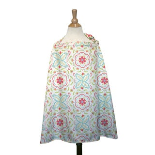 The Peanut Shell Cotton Nursing Cover in Coral and Aqua Mila Print