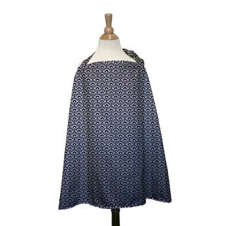 The Peanut Shell Cotton Nursing Cover in Navy Scallop Print
