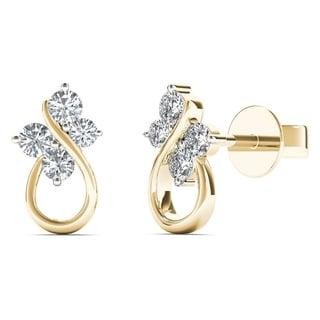 AALILLY 10k Yellow Gold 1/6ct TDW Diamond Butterfly Stud Earrings