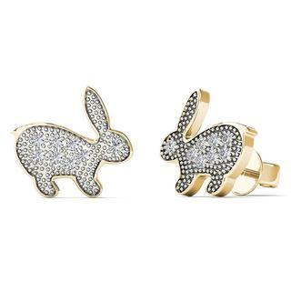 10k Yellow Gold Diamond Accent Rabbit Stud Earrings (H-I, I1-I2)