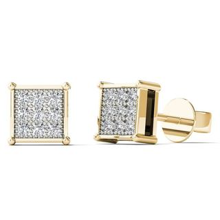 AALILLY 10k Yellow Gold Diamond Accent Square Stud Earrings (H-I,I1-I2)