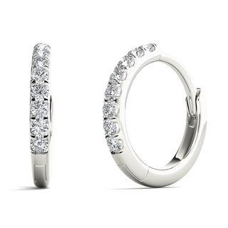 10k White Gold 1/10ct TDW Diamond Elegant Hoop Earrings (H-I, I1-I2)