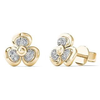 AALILLLY 10k Yellow Gold Diamond Accent Fashion Stud Earrings