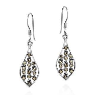 Intricate Teardrop Marcasite .925 Silver Dangle Earrings (Thailand)