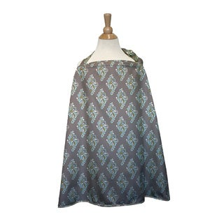 The Peanut Shell Cotton Nursing Cover in Grey Medallion Print