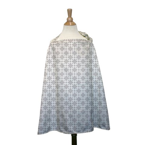 The Peanut Shell Cotton Nursing Cover in Grey Geo Print