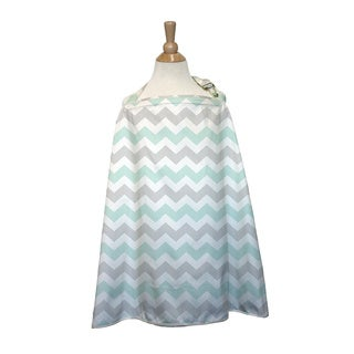 The Peanut Shell Cotton Nursing Cover in Grey Chevron Print