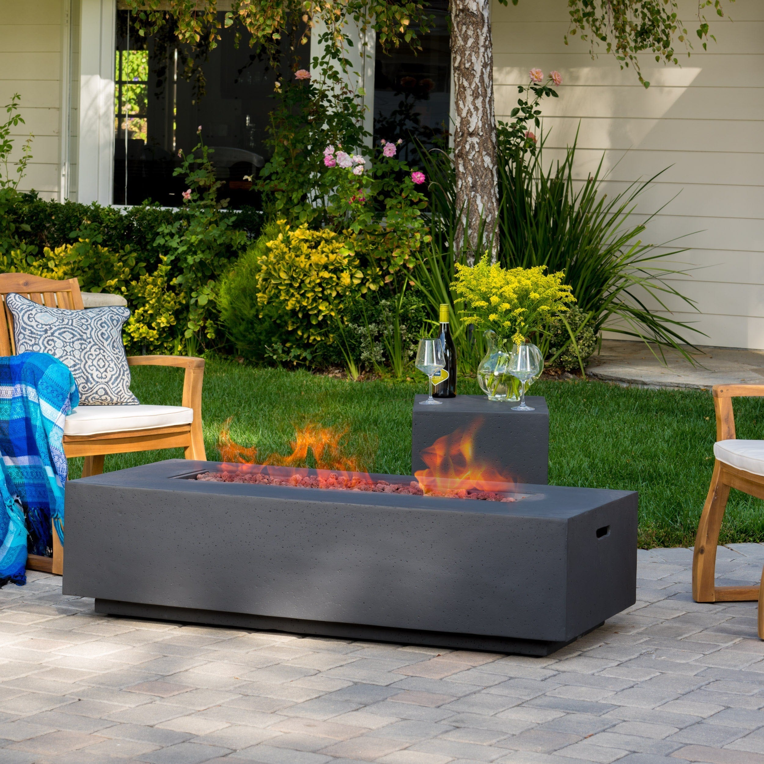Santos Outdoor 56 Inch Rectangular Propane Fire Table With Tank Holder By  Christopher Knight Home