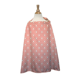 The Peanut Shell Cotton Nursing Cover in Coral Tile Print