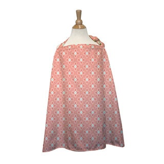 The Peanut Shell Cotton Nursing Cover in Coral Tile Print - Pink
