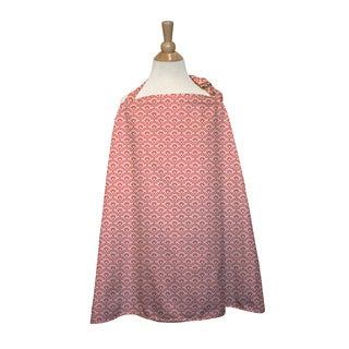 The Peanut Shell Cotton Nursing Cover in Coral Scallop Print - Pink