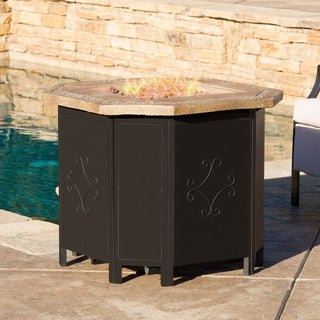 Christopher Knight Home Tiburon Outdoor 30-inch Octagonal Liquid Propane Fire Pit with Lava Rocks