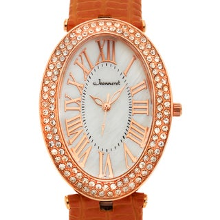 Jeanneret Women's Isabella Rosetone Mother of Pearl Watch with Brown Leather Strap