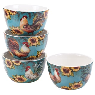 Certified International Sunflower Rooster 5.25-inch Ice Cream Bowls (Set of 4) Assorted Designs