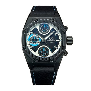 Ulysse Girard Men's Laroque Black Leather Stainless Steel Chronograph Watch