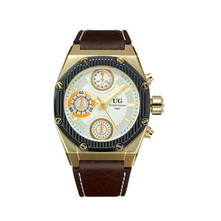 Ulysse Girard Men's Laroque Brown Leather Goldtone Stainless Steel Chronograph Watch