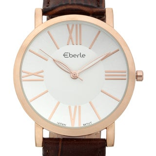 Eberle Men's Renzo Brown Genuine Croc Grain Leather Watch