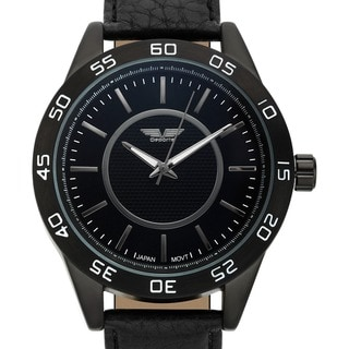 Deporte Men's Silverstone Textured Dial Core Watch with Black Leather Strap