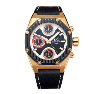Ulysse Girard Men's Laroque Black Leather Goldtone Stainless Steel Chronograph Watch