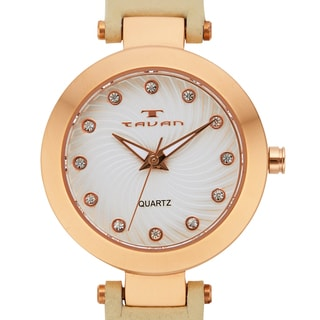 Tavan Women's Flotilla Crystal Accented Dial Watch with Beige Leather Strap