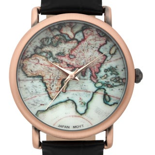 Jeanneret Women's Indira Rosetone Map Dial Watch with Black Leather Strap