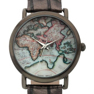 Jeanneret Women's Indira Map Dial Watch with Black Leather Strap