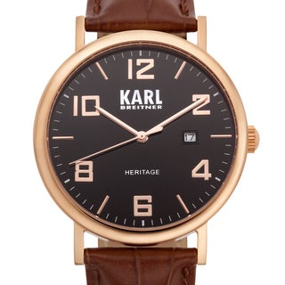 Karl Breitner Men's Elegante Brown Croc-textured Genuine Leather Stainless Steel Watch