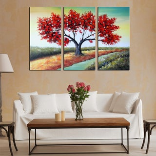 Hand-painted Red Tree Landscape Art - Colors of Nature