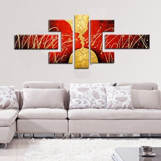Hand-painted Red Abstract Canvas Painting 172