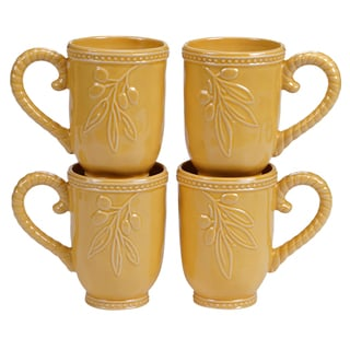 Certified International Binaca Gold 18-ounce Mugs (Set of 4)