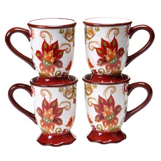 Certified International Spice Flowers 18-ounce Mugs (Set of 4)