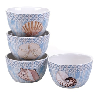Certified International Spa Shells 5.25-inch Ice Cream Bowls (Set of 4) Assorted Designs