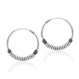 Twisted Rope Balinese Sterling Silver Hoop Earrings (Thailand)
