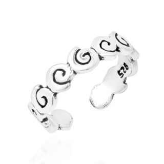 Handmade Swirl Summer Wave Band Sterling Silver Toe or Pinky Ring (Thailand)