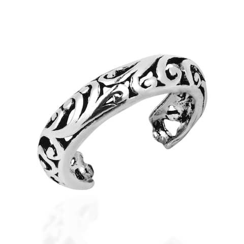 Handmade Detailed Open Swirl Filigree .925 Silver Toe or Pinky Ring (Thailand)